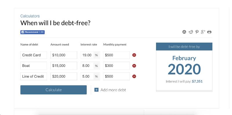 debt repayment calculators